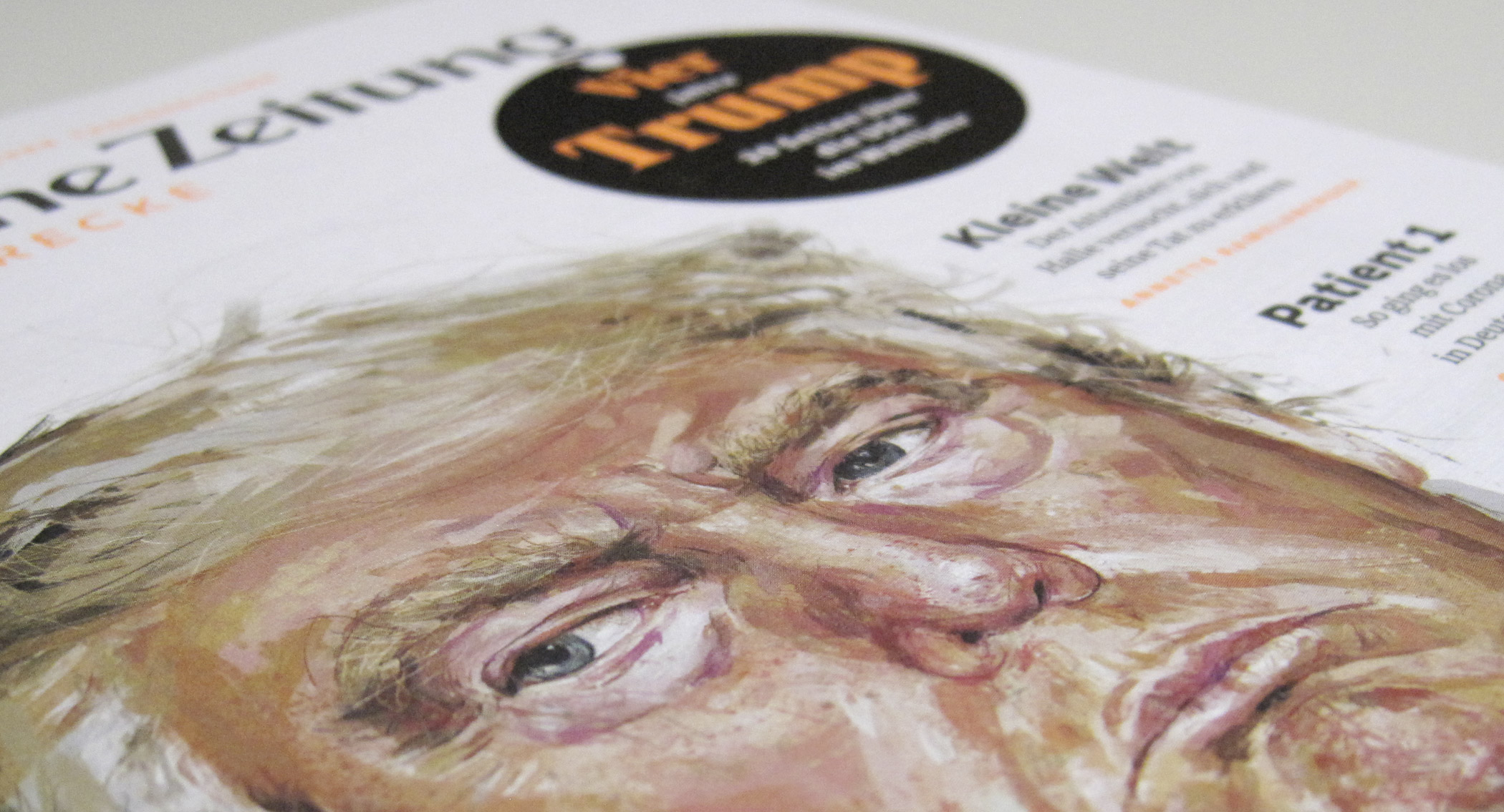 detail of magazine cover illustration donald trump