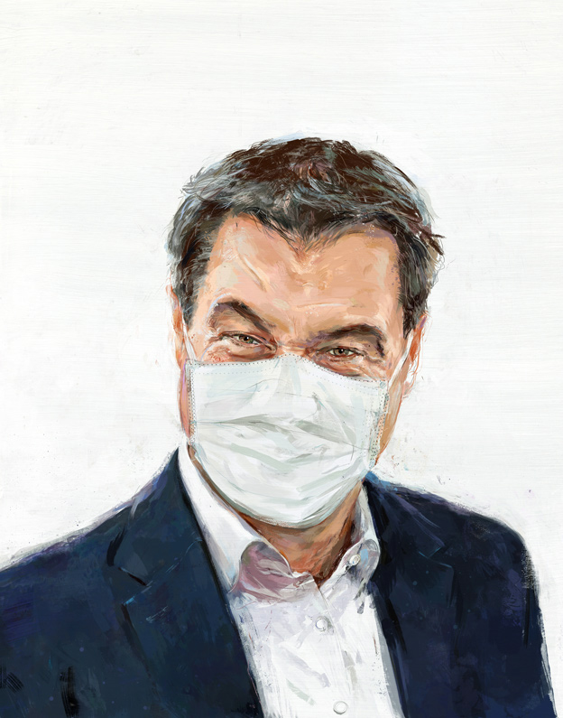 painted portrait of Markus Soeder with mask