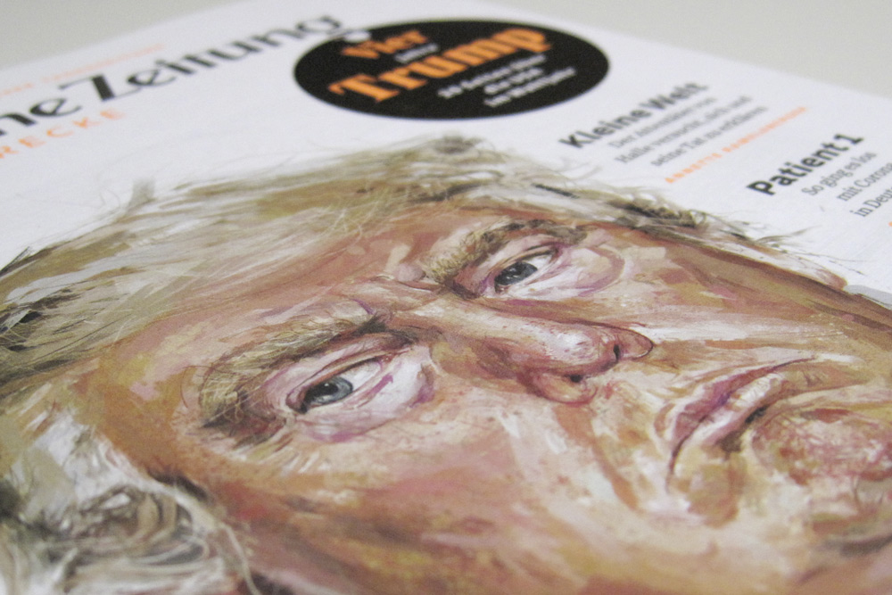 detail of magazine cover Trump